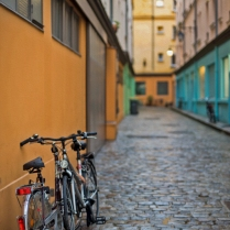 Bike In Coloured Lane-Oil-9036